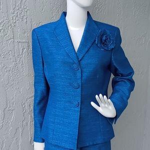 LeSuit Ladies 2PC Teal Blue Luxury Skirt Suit